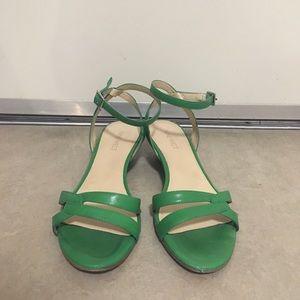 Nine West angle strap wedge sandals